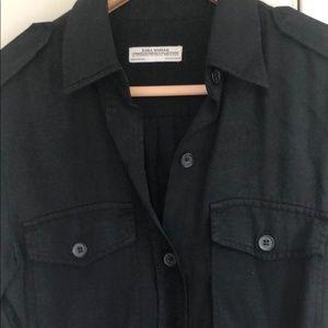 Zara Black Casual Button Down Shirt Top Sz S AM